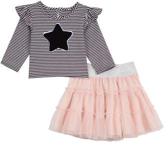 Pastourelle Little Girl's 2-Piece Striped Top Tutu Skirt Set