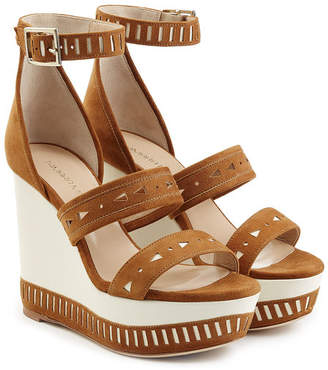 Tamara Mellon Suede Zabriskie Wedge Sandals