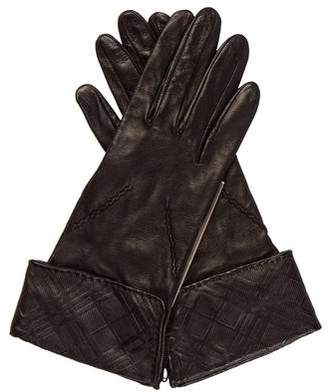 Burberry Emily Embossed Leather Check Gloves