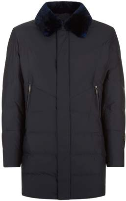 Corneliani Quilted Goose Down Jacket with Fur Collar