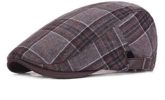 204862cf08b9a ZLSLZ Mens Adjustable Plaid Wool Flat Ivy Newsboy Cabbie Gatsby Golf Hat Cap  Red