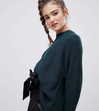 Monki longline textured jumper in green
