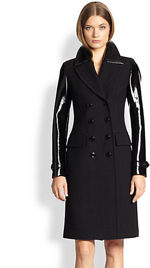 Burberry Mohair-Blend & Patent Military Coat