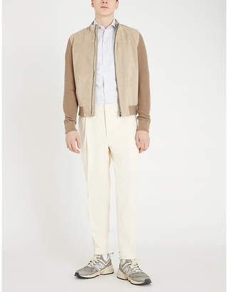 Corneliani Ribbed cotton and suede jacket
