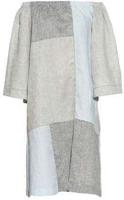 LISA MARIE FERNANDEZ Off-the-shoulder patchwork linen dress $770 thestylecure.com