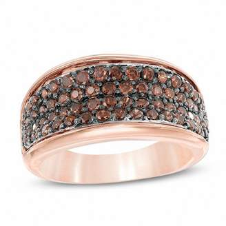 Zales 7/8 CT. T.W. Champagne Diamond Four Row Ring in 10K Rose Gold