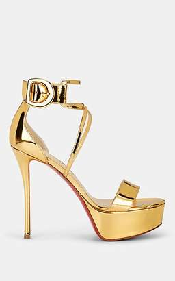 Christian Louboutin Women's Choca Specchio Leather Platform Sandals - Gold