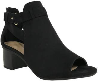 City Classified Invest Women's Cutout Side Strap Mid Chunky Heel Fashion Ankle Bootie