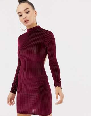 Missguided ribbed velvet open back mini dress in burgundy