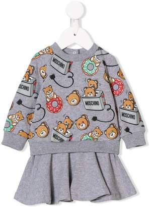 Moschino Kids teddy bear print dress