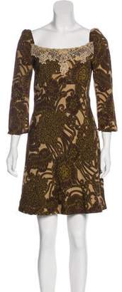 RED Valentino Printed Lace-Trimmed Dress
