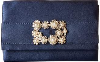 Jessica McClintock Alexis Satin Rhinestone Broach Clutch Clutch Handbags