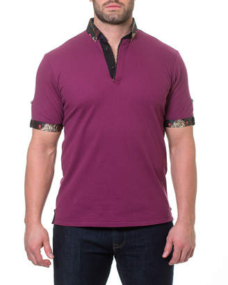 Maceoo Zodiac Contrast-Trim Cotton-Pique Polo Shirt, Burgundy