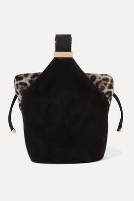 Bienen-Davis - Kit Mini Leopard-print Calf Hair-trimmed Suede Bucket Bag - Black