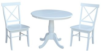 """INC International Concepts 36"""" Round Extension Dining Table With 2 X-Back Chairs - 3 Piece Set - White"""