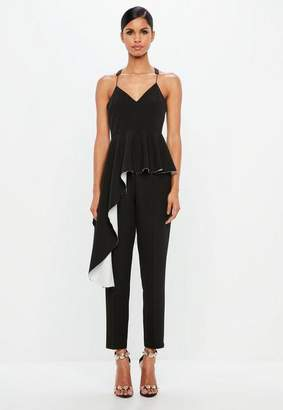 Missguided Black Exaggerated Frill Cami Top