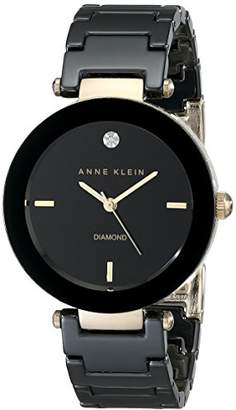 Anne Klein Women's AK/1018BKBK Ceramic Bracelet Watch with Diamond Accent