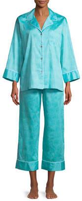 Natori Fan Honeycomb-Print Sateen Classic Pajama Set