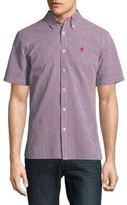 Brooks Brothers Red Fleece Gingham Cotton Seersucker Button-Down Shirt