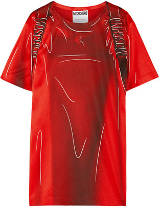 Moschino - Printed Stretch-satin T-shirt Dress - Red $1,050 thestylecure.com