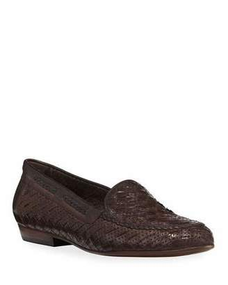 Sesto Meucci Nellie Woven Perforated Loafer, Dark Brown