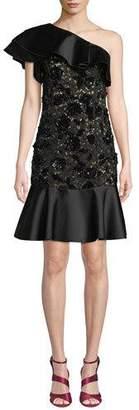 Michael Kors One-Shoulder Duchess Ruffle Floral-Lace Cocktail Dress