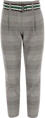 River Island Girls green check belted trousers