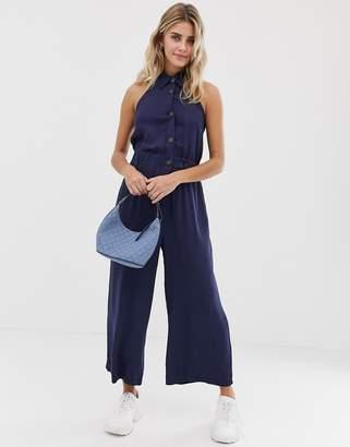 0364c43c271d Asos Design DESIGN button front collar culotte jumpsuit