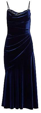 Theia Women's Ruched Velvet Cocktail Dress