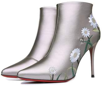7c49fed0037 Wendy Wu Womens High Heels Low Top Solid PU Winter Fashion Boots Flower  Lady Boots (
