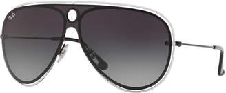 Ray-Ban Men's RB3605N Aviator Sunglasses, Black/White