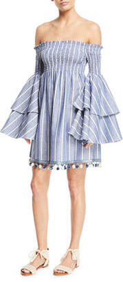 Caroline Constas Appolonia Off-the-Shoulder Striped Bell-Sleeve Mini Dress