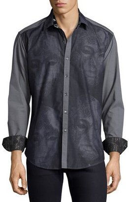Robert Graham Limited Edition Mask Embroidered Sport Shirt, Black $398 thestylecure.com