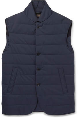 Loro Piana Windstorm Suede-Trimmed Quilted Shell Gilet - Men - Navy