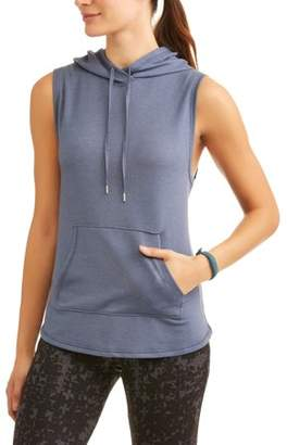 Athletic Works Women's Athleisure French Terry Vest With Hoodie