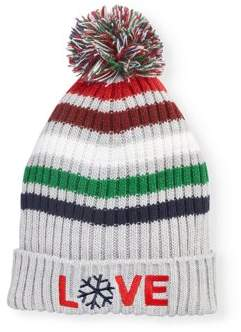 EV1 from Ellen DeGeneres Women's Striped Ribbed Knit Cuffed Hat With Pom (Gray)