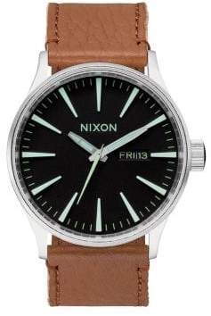 Nixon Stainless Steel& Leather Watch