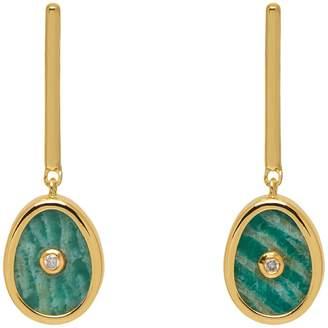 Lola Rose London - Curio Diamond Mini Oval Drop Earrings Amazonite Gold