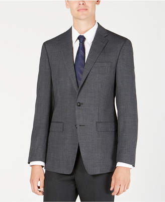 Calvin Klein Men's X Fit Slim-Fit Charcoal/Blue Mini Grid Wool Sport Coat