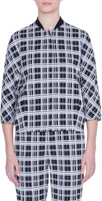 Akris Punto Monochromatic Check Jacquard Jacket