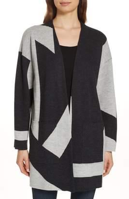 Eileen Fisher Colorblock Merino Wool Kimono Cardigan