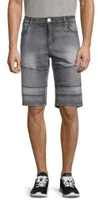 X-RAY Jeans Washed Moto Denim Shorts