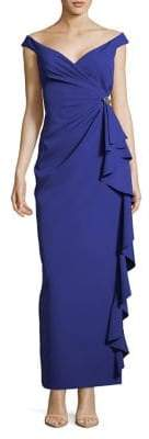Vince Camuto Off-Shoulder Ruffled Drape Gown