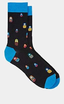 Barneys New York Men's Russian-Doll-Motif Cotton-Blend Socks - Charcoal