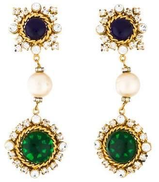 1412b602e4c09b Chanel Faux Pearl, Gripoix & Crystal Drop Clip-On Earrings