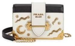 Prada Cahier Studded Saffiano& Leather Shoulder Bag