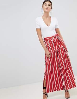 boohoo Stripe Side Split Wide Leg Pants