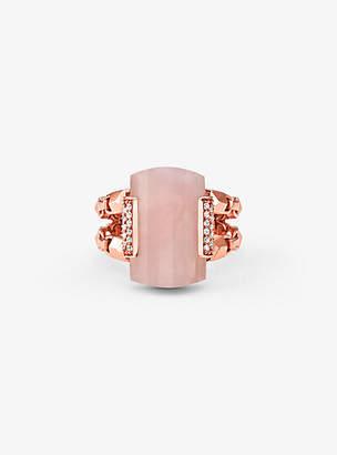 Michael Kors 14k Rose Gold-Plated Sterling Silver Rose Quartz Cocktail Ring