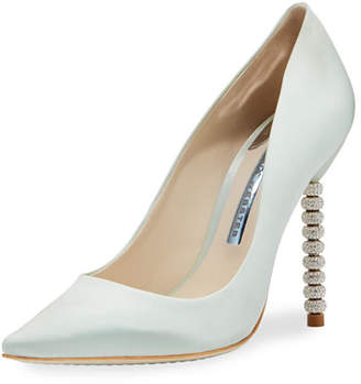 Sophia Webster Coco Satin Crystal-Heel Bridal Pumps, Ice Blue