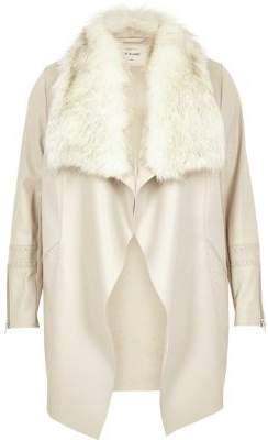 River IslandRiver Island Womens Plus light grey faux fur waterfall jacket